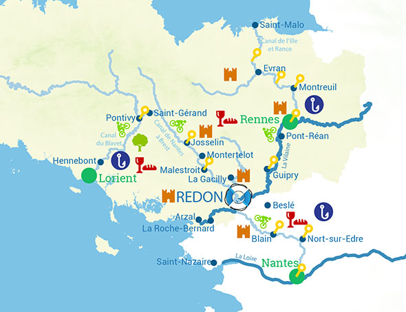 Routes of river cruise in Brittany